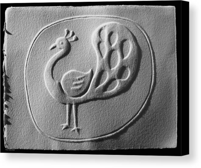 Hand Reliefs On Paper Canvas Print featuring the relief Relief Peacock by Suhas Tavkar