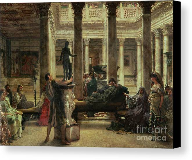 Roman Canvas Print featuring the painting Roman Art Lover by Sir Lawrence Alma-Tadema