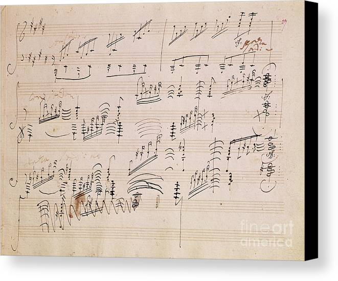 Score Canvas Print featuring the painting Score Sheet Of Moonlight Sonata by Ludwig van Beethoven
