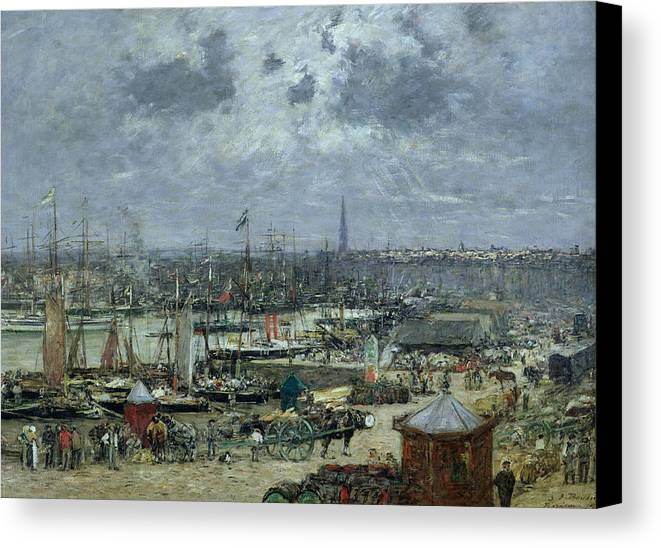 The Canvas Print featuring the painting The Port Of Bordeaux by Eugene Louis Boudin