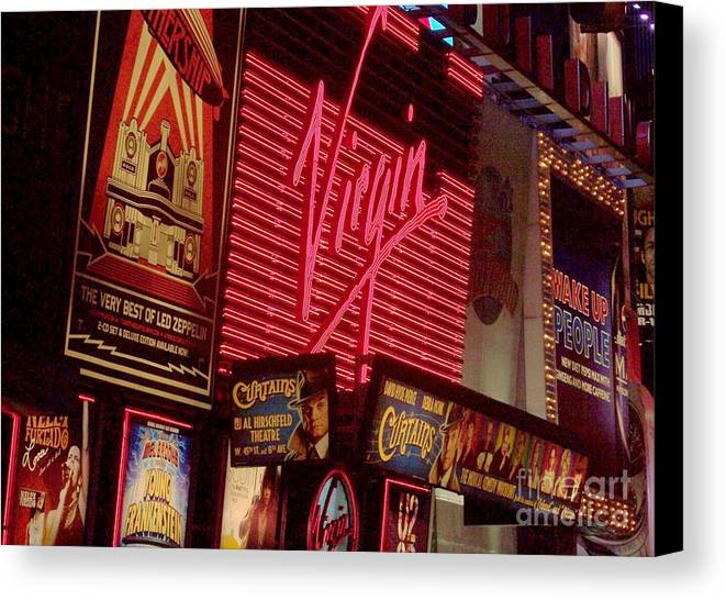 Times Square Canvas Print featuring the photograph Times Square Night by Debbi Granruth