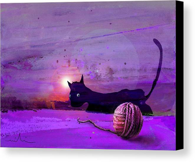 Cats Canvas Print featuring the painting Unravelling by Miki De Goodaboom