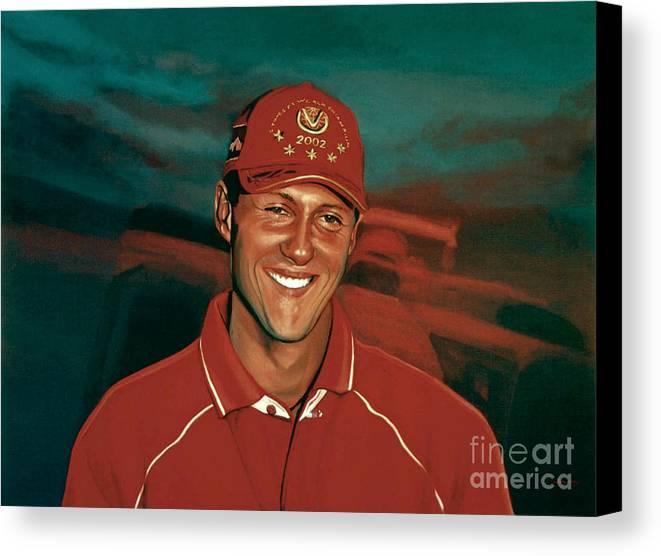 Michael Schumacher Canvas Print featuring the painting Michael Schumacher by Paul Meijering