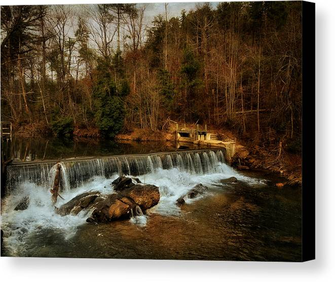 Black And White Canvas Print featuring the photograph Waterfall by Mario Celzner
