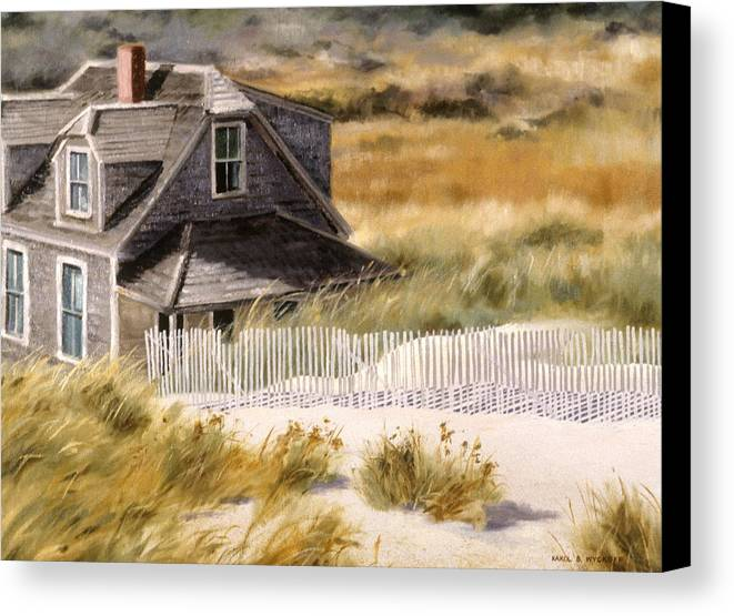 Cottage Canvas Print featuring the painting Balston Beach House by Karol Wyckoff