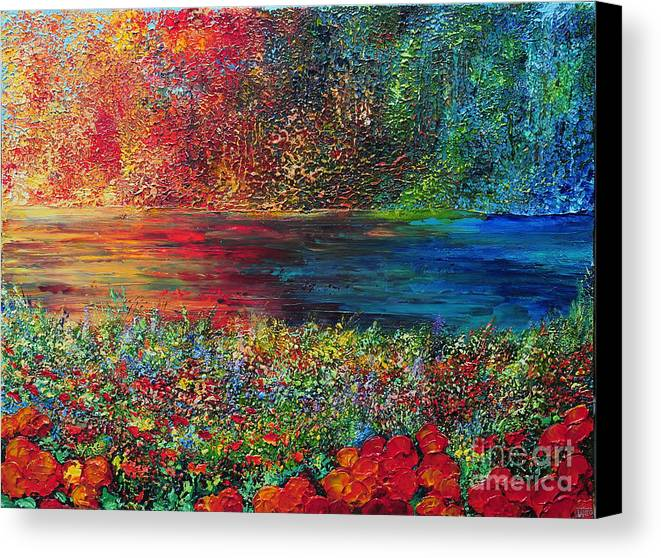 Abstract Canvas Print featuring the painting Beautiful Day by Teresa Wegrzyn