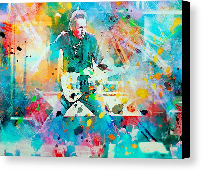 Bruce Canvas Print featuring the painting Bruce Springsteen by Rosalina Atanasova