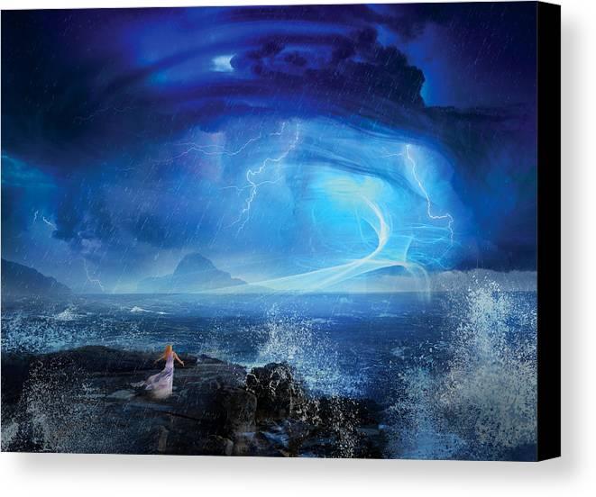 Philip Straub Canvas Print featuring the digital art Etherstorm by Philip Straub