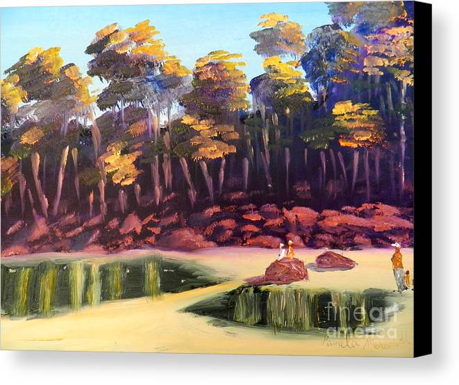 Impressioism. Nature Canvas Print featuring the painting Exploring On Echo Beach by Pamela Meredith