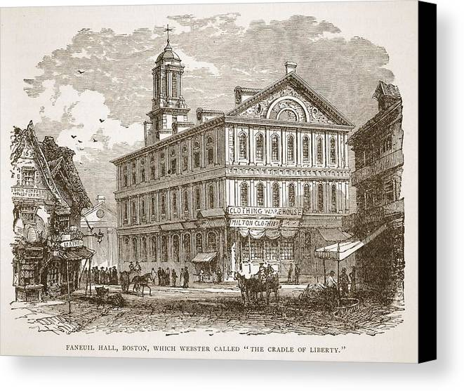 Architecture Canvas Print featuring the drawing Faneuil Hall, Boston, Which Webster by American School