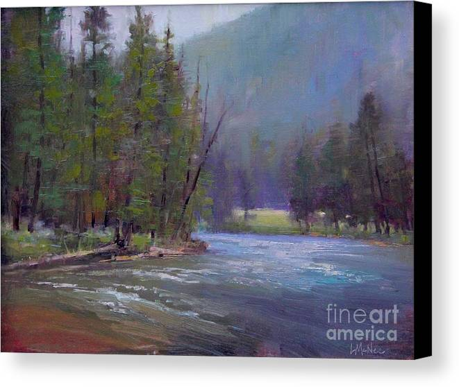 Yellowstone Canvas Print featuring the painting Hazy Day On The Gallatin by Lori McNee
