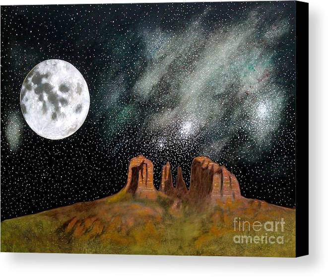 John Lyes Canvas Print featuring the painting Moonrise Over Sedona by John Lyes