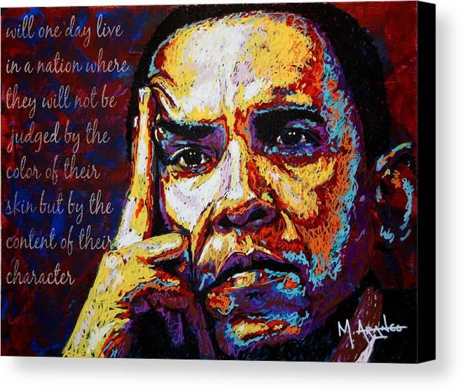 Barack Obama Canvas Print featuring the painting Obama by Maria Arango