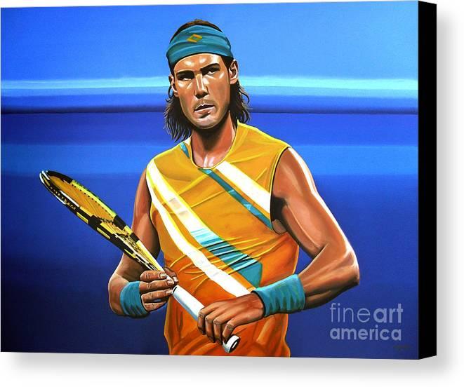 Rafael Nadal Canvas Print featuring the painting Rafael Nadal by Paul Meijering