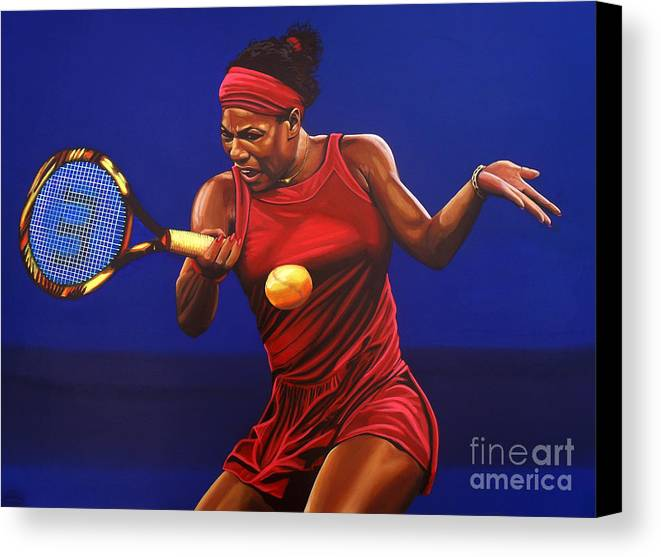Serena Williams Canvas Print featuring the painting Serena Williams Painting by Paul Meijering