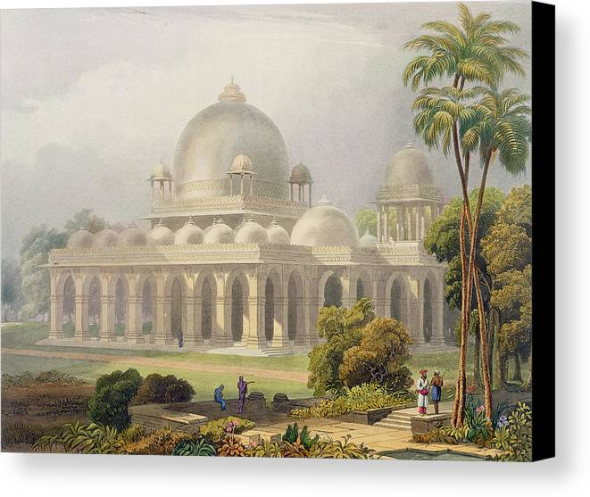 Architecture Canvas Print featuring the drawing The Roza At Mehmoodabad In Guzerat, Or by Captain Robert M. Grindlay
