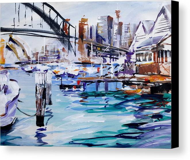 Sydney Canvas Print featuring the painting Work And Play by Shirley Peters