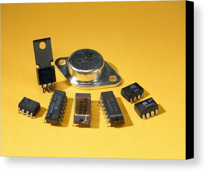 Component Canvas Print featuring the photograph Electronic Circuit Board Components by Andrew Lambert Photography