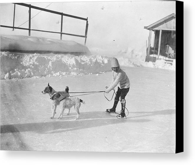 Child Canvas Print featuring the photograph Lazy Skater by Hulton Collection