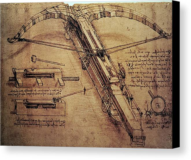 Design Canvas Print featuring the painting Design For A Giant Crossbow by Leonardo Da Vinci