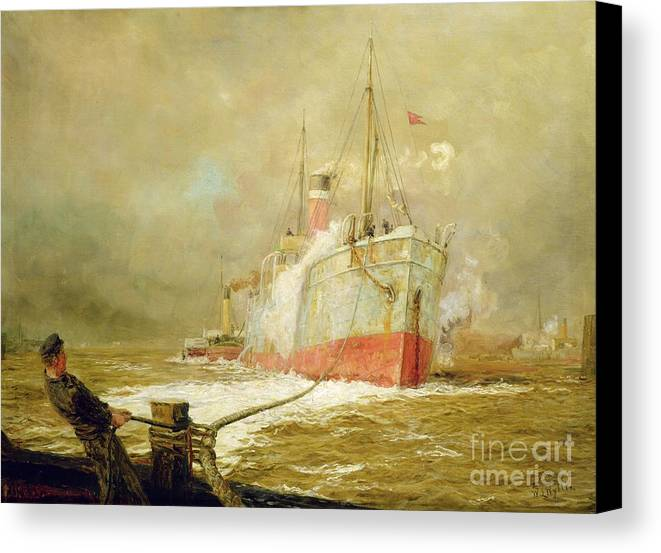 Docking Canvas Print featuring the painting Docking A Cargo Ship by William Lionel Wyllie