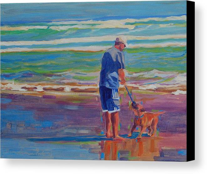 Dog At Play Canvas Print featuring the painting Dog Beach Play by Thomas Bertram POOLE