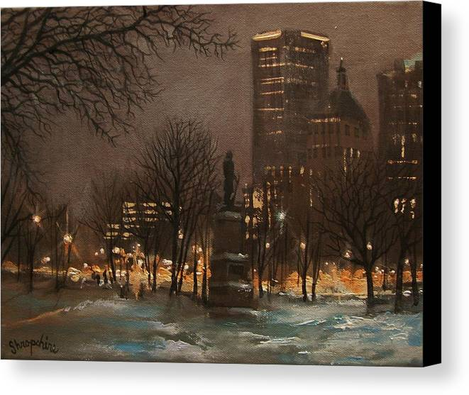 City At Night Canvas Print featuring the painting Juneau Park Milwaukee by Tom Shropshire