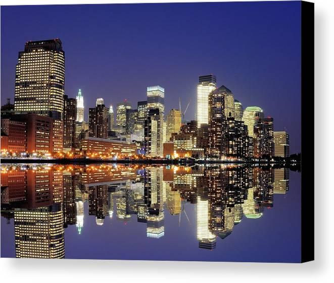 Horizontal Canvas Print featuring the photograph Lower Manhattan Skyline by Sean Pavone
