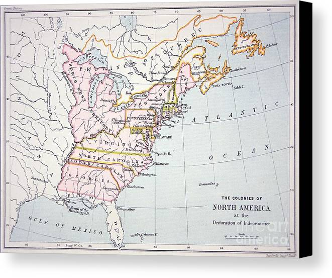 Maps Canvas Print featuring the drawing Map Of The Colonies Of North America At The Time Of The Declaration Of Independence by American School