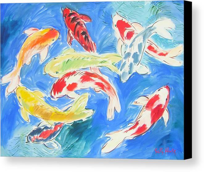 Nine koi canvas print canvas art by sally huss for Koi prints canvas