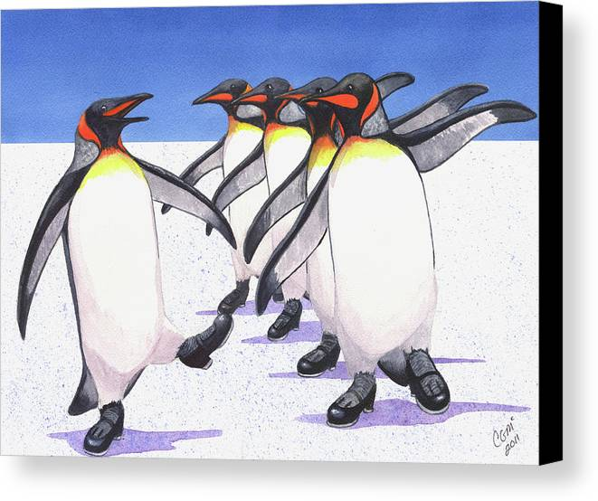 Penguin Canvas Print featuring the painting Tappity Tap by Catherine G McElroy