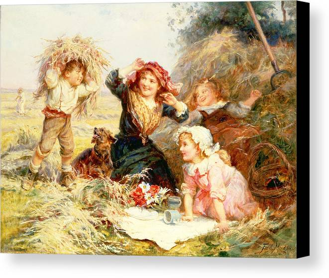 Quaint Canvas Print featuring the painting The Haymakers by Frederick Morgan