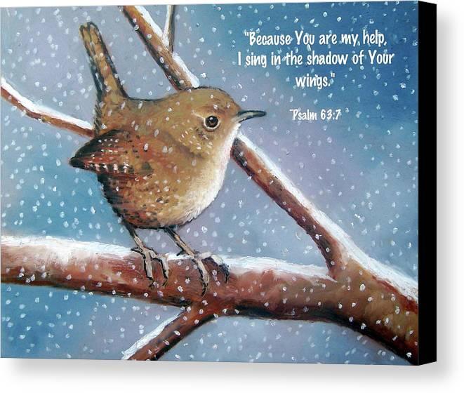 Wren Canvas Print featuring the pastel Wren In Snow With Bible Verse by Joyce Geleynse