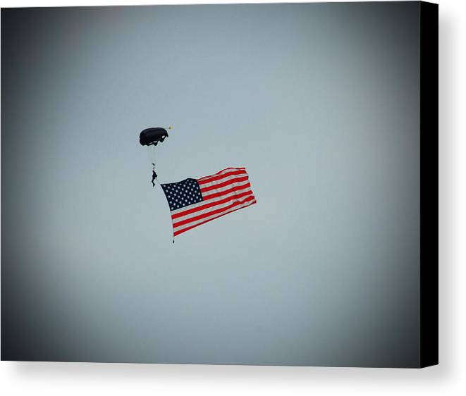 American Canvas Print featuring the photograph American Flag In The Sky by Aimee L Maher Photography and Art Visit ALMGallerydotcom
