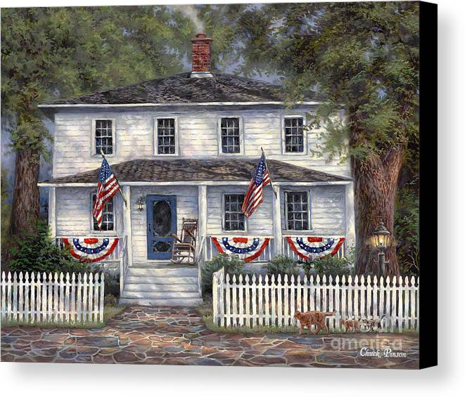 Partriotic Canvas Print featuring the painting American Roots by Chuck Pinson