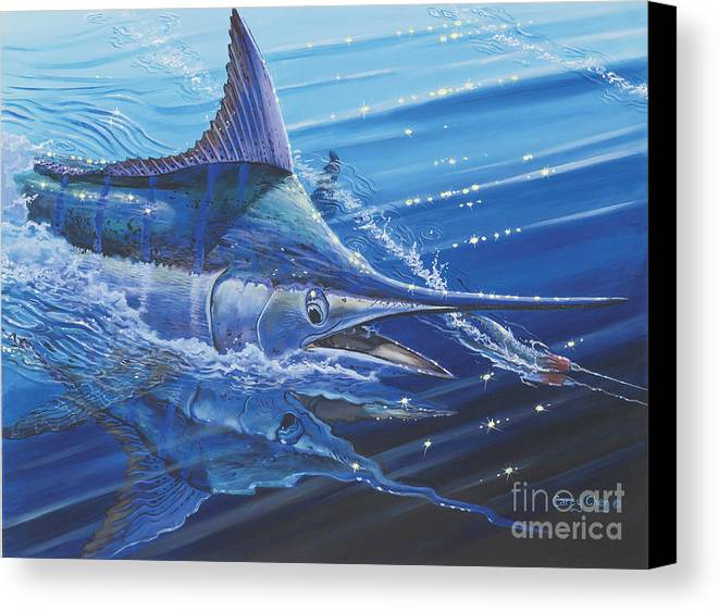 Blue Marlin Canvas Print featuring the painting Blue Marlin Strike Off0053 by Carey Chen