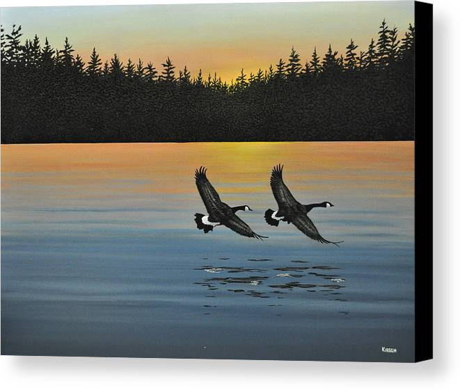 Canada Geese. Bireds Canvas Print featuring the painting Canada Geese by Kenneth M Kirsch
