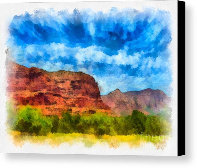 Arid Climate Canvas Print featuring the digital art Courthouse Butte Sedona Arizona by Amy Cicconi