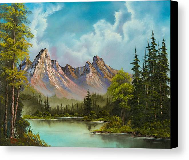 Landscape Canvas Print featuring the painting Crimson Mountains by C Steele