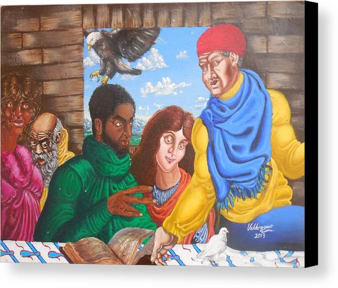 Fantasy Canvas Print featuring the painting In Discussion by Valdengrave Okumu