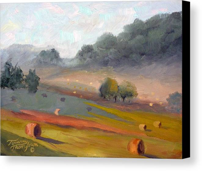 Haybales Canvas Print featuring the painting Ingram Haybales by Tommy Thompson