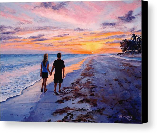Beach Canvas Print featuring the painting Into The Sunset by Mary Giacomini