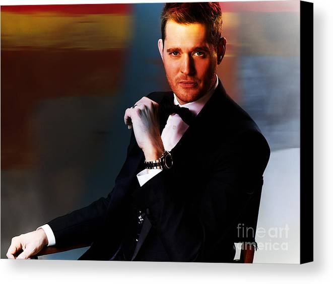 Celebrity Canvas Print featuring the mixed media Michael Buble by Marvin Blaine