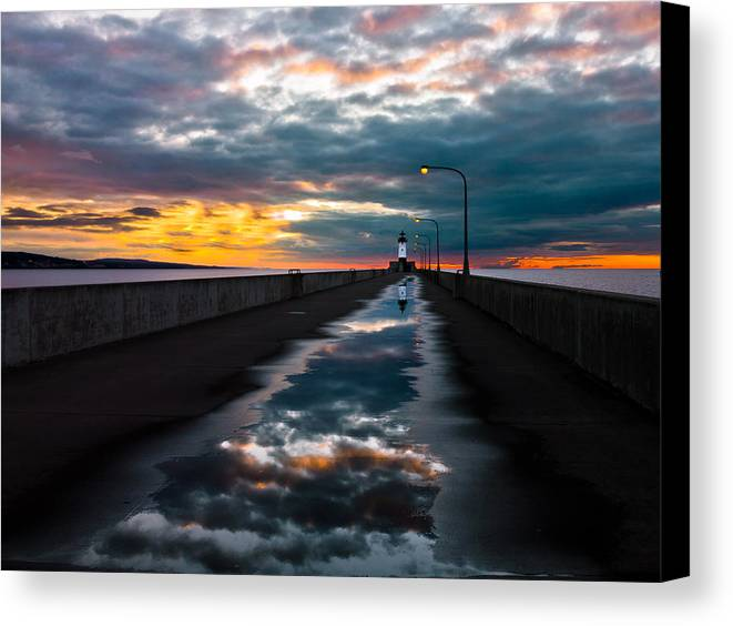 pathway To The Sun after The Rains lake Superior Sunrise reflection sunrise canal Park canal Park Lighthouse Duluth dawn On Lake Superior dawn In Canal Park wow pure Magic!greeting Cardslandscape Greeting Cards nature Greeting Cards Canvas Print featuring the photograph Pathway To The Sun by Mary Amerman