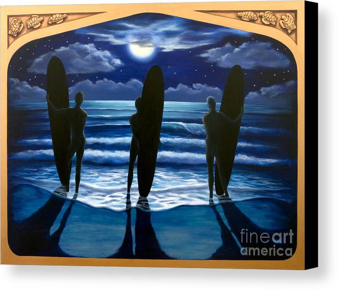 Surfing Canvas Print featuring the painting Phosphorus Nights by Teri Tompkins