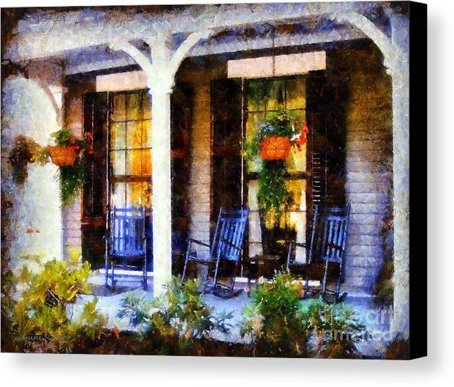 Rocking Chairs Canvas Print featuring the photograph Rocking Chairs On A Country Porch by Janine Riley