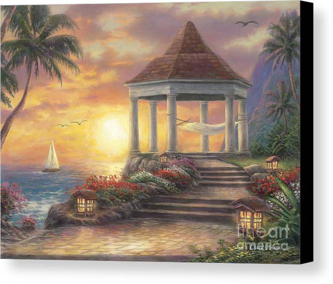 Gazebo Canvas Print featuring the painting Sunset Overlook by Chuck Pinson