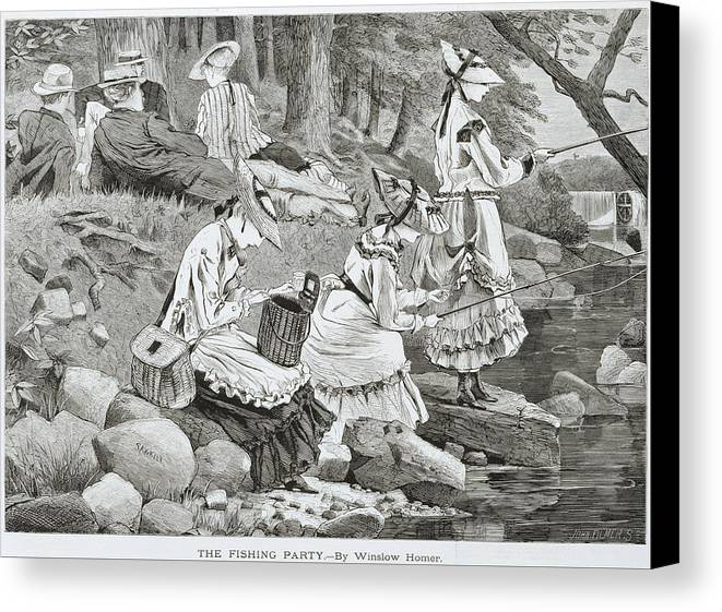 The Fishing Party Canvas Print featuring the painting The Fishing Party by Winslow Homer