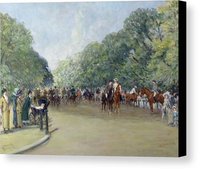 C19th Canvas Print featuring the painting View Of Hyde Park With Figures On Rotten Row by Albert Jnr Ludovici