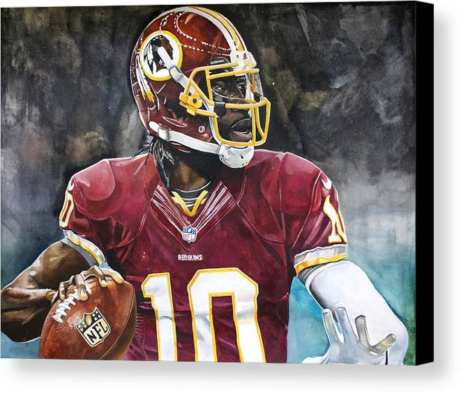 Rg3 Canvas Print featuring the painting Washington Redskins' Robert Griffin IIi by Michael Pattison